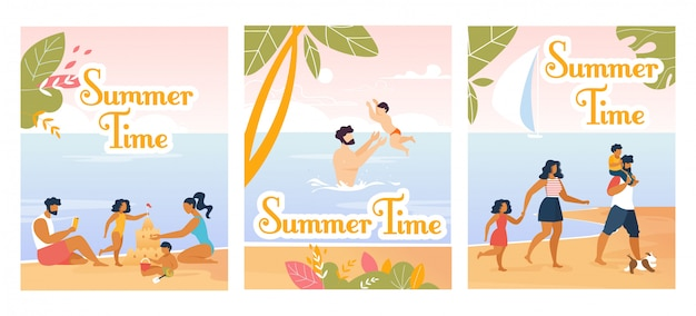Family summer time flyers and cards cartoon set