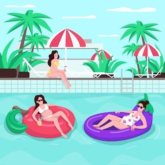 가족 여름 여행 평면 색상. 선글라스에 소녀. 음료와 함께 여성입니다. 풍선 물 고리에 사람들. 배경에 안락과 임신 한 여자 2d 만화 캐릭터