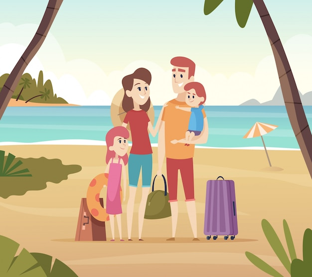 Family summer travellers. kids with parents going to summer vacation big adventure on sea  cartoon background