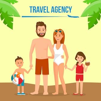 Family on summer vacation social media banner.