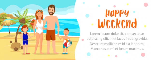 Family on summer vacation vector banner template.