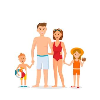 Family on summer vacation vector illustration.