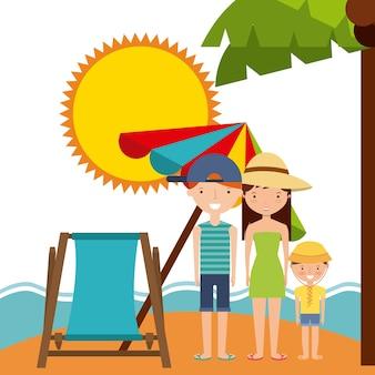 Family sun chair umbrella  icon