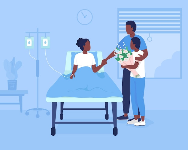 Family support during hospitalization flat color vector illustration. patient room at clinic. father and brother visiting young girl 2d cartoon characters with hospital environment on background