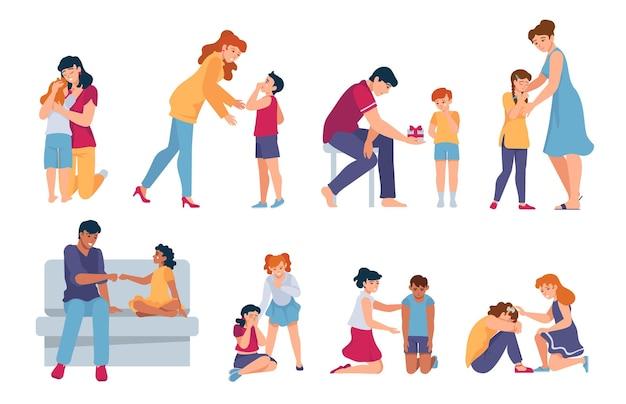 가족 지원. 부모와 친구들이 우는 아이들을 위로하고 안아줍니다. 어른들은 슬픈 아이들을 위로합니다. 슬픔 벡터 세트에 있는 사람들에 대한 동정. 일러스트 지원 화난 사람들, 캐릭터 관계