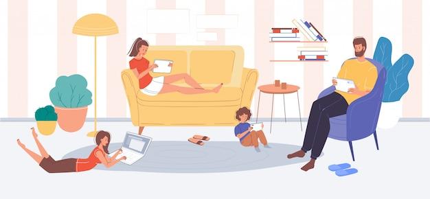 휴대용 전자 제품을 사용하여 인터넷을 서핑하는 가족