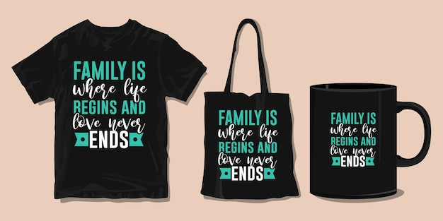 家族のtシャツのタイポグラフィの引用。印刷用商品