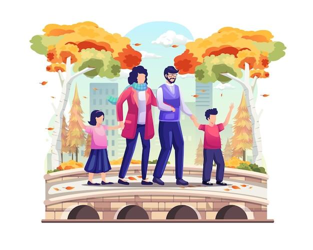 Family taking a walk on the park bridge in autumn vector illustration
