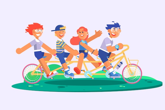 Family tandem bicycle cartoon concept with parents son and daughter. vector illustration Premium Vector