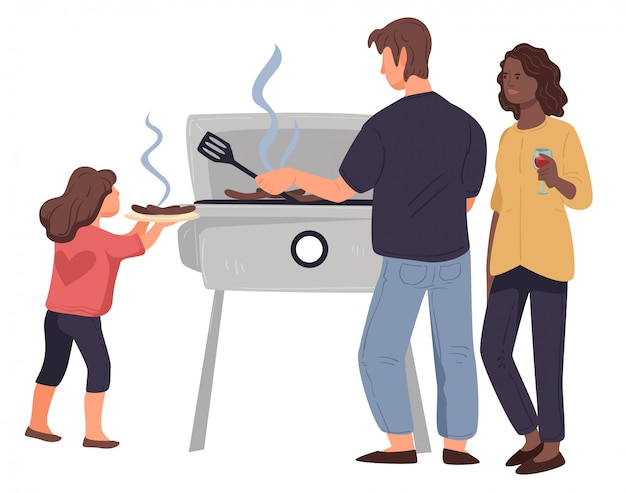 Family tanding near barbecue grilling meat together