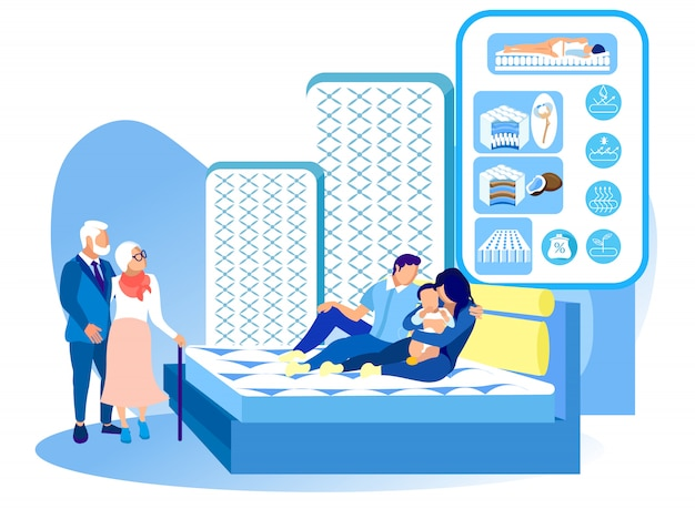 Family testing mattress in salon mattress. vector.