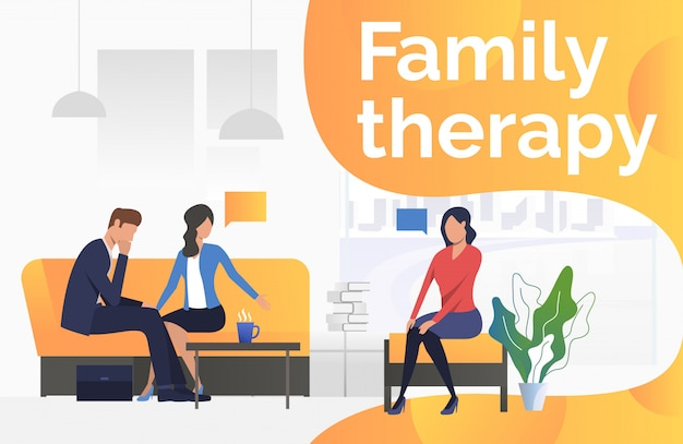 Family therapy text with psychologist talking to couple
