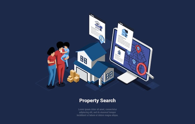 Family of three members on property for sale search. mother, father and son standing near house, big computer monitor with map and gps on screen. vector isometric illustration in cartoon 3d style.