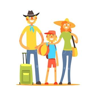 Family of three tourists