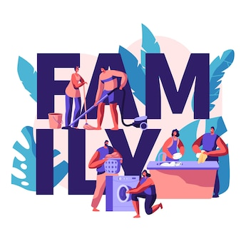 Family time banner. housekeeping and routine. scrubwoman and man cleaning dirty clothes, floor.