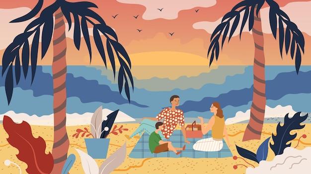 家族の時間の概念。人々は海岸でピクニックをします。父母と息子は、海沿いの2本のヤシの木の間のビーチで夕日を楽しんで食べて楽しんでください。