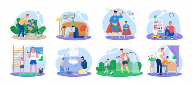 Family time, father and son illustration, cartoon happy man parent characters with child have fun together icons isolated on white