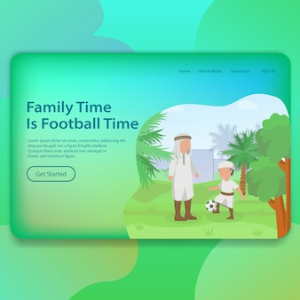 Family time father with his son landing page