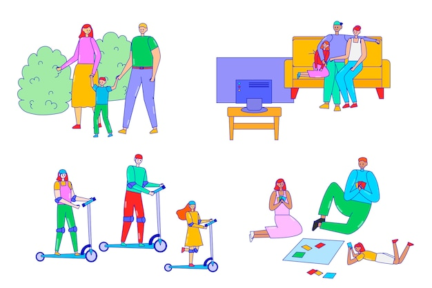 Family time illustration set, line happy family characters spend time together, father mother and child watch tv, walk or play games