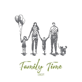 家族の時間、母、子供、幸せ、父の概念。コンセプトスケッチの外を歩く手描きの幸せな家族。