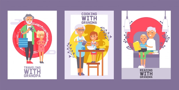 Family time set of cards or posters generation together for spending enjoying time