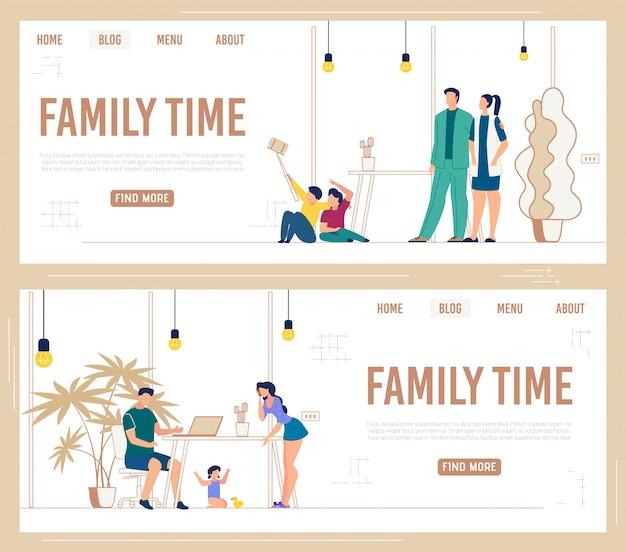 Информационный набор баннеров надписи family time.