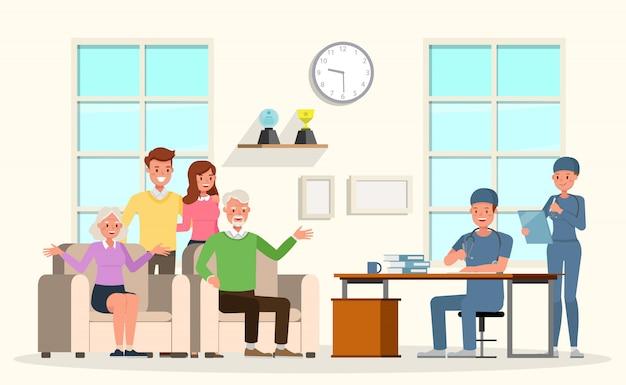 病院で医者を見る家族キャラクター。さまざまなアクションでのプレゼンテーション、感情、笑顔、そして幸せ。