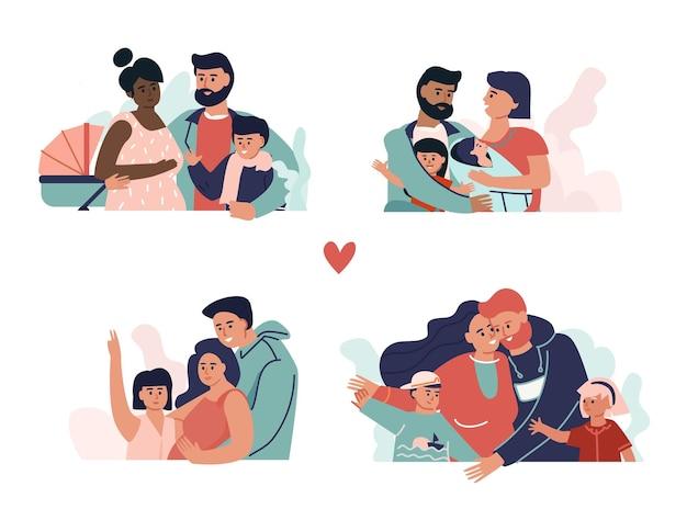 Семья вместе. родители, дети, бабушки и дедушки обнимаются и обнимаются. вектор счастливые иллюстрированные персонажи мультфильмов проводят время вместе в концепциях, связывающих семью
