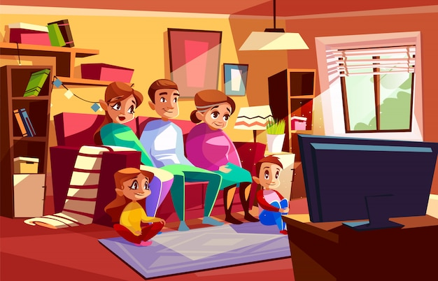Family together watching tv illustration of parents and children sitting on sofa