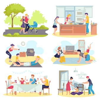 家族と一緒にイラストの子供たちのコンセプトセット。父と母がリビングルームで子供たちと遊んで、歩いて、料理をして、一緒に時間を過ごします。幸せな親と子供。