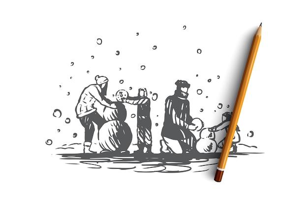 가족, 공생, 겨울, 크리스마스 행복 개념. 부모와 두 자녀가 눈사람을 만듭니다. 손으로 그린 스케치 그림