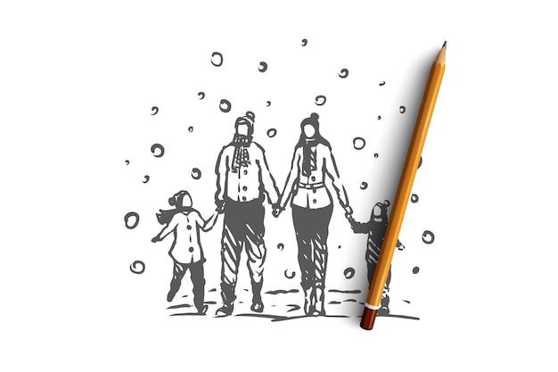 Семья, единение, зима, концепция счастья рождества. родители и двое детей гуляют по снежной погоде зимой и держатся за руки. нарисованная рукой иллюстрация эскиза