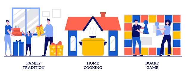 家族の伝統、家庭料理、小さな人々とのボードゲームのコンセプト。親戚の絆、自家製の食事の準備、娯楽活動の抽象的なベクトルイラストセット。質の高い自由時間の比喩。