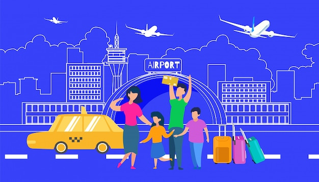 Family transfer to airport with taxi flat vector