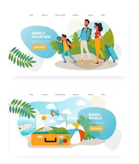 가족 여행 개념 그림입니다. 아이들과의 휴가, 여행 가방. 벡터 웹 사이트 디자인 템플릿입니다. 방문 페이지 웹 사이트 그림입니다.
