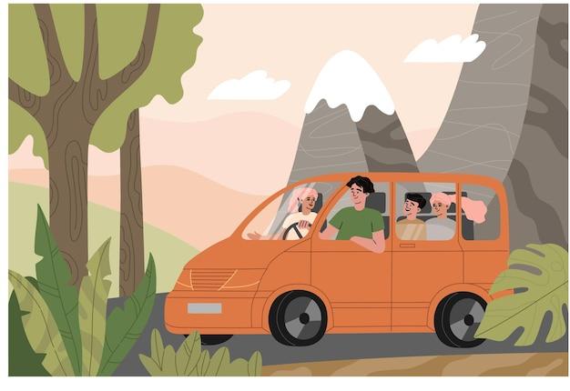 오렌지 차, 백그라운드에서 자연 풍경에 가족 여행. 자동차로 아이들과 함께 산으로 휴가 여행을 떠나는 행복한 부모. 플랫 카톤 스타일의 손으로 그린 그림