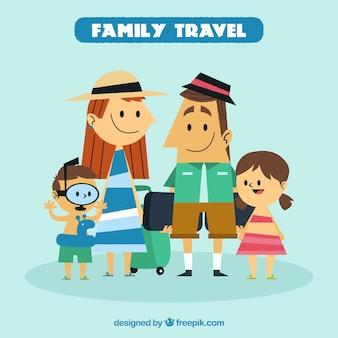 빈티지 스타일의 가족 여행