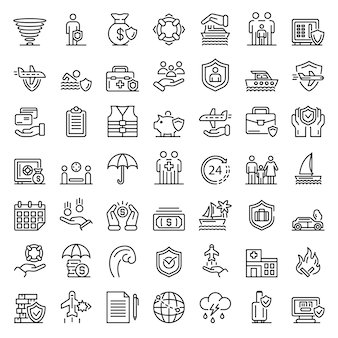 Family travel insurance icons set, outline style