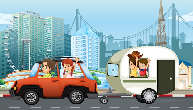 A family travel with caravan