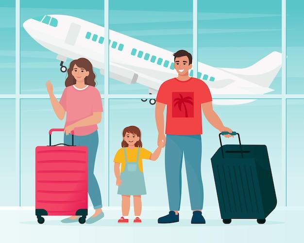 Семья едет в аэропорту с чемоданами. время путешествовать концепции. векторная иллюстрация в плоском стиле