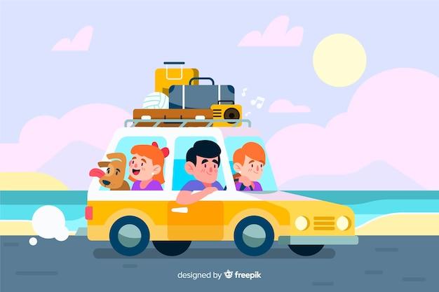 바다 옆에 자동차로 여행하는 가족
