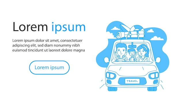 Family traveling by car outline cartoon vector illustration
