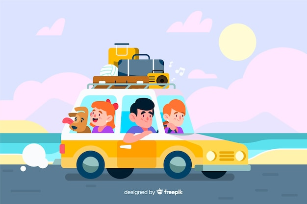 Family traveling by car next to the sea
