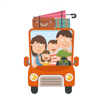 Family traveling in car