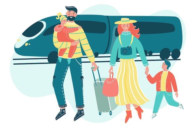 Семья путешествует вместе с багажом и поездом на заднем плане.