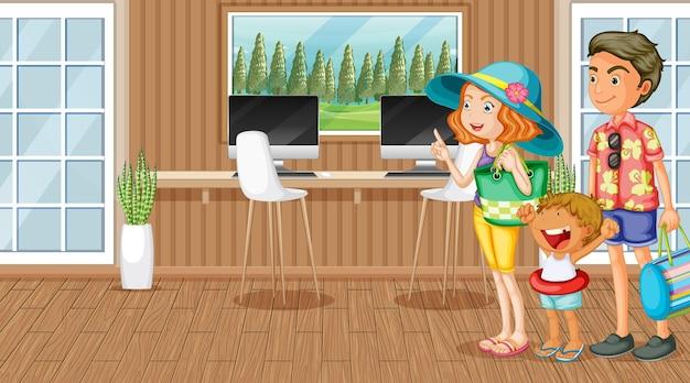 Viaggiatore di famiglia in costume estivo nella scena della stanza