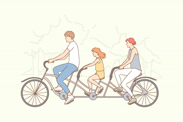 Family, travelling, cycling, sport, activity concept