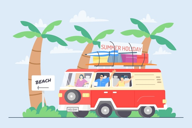 Family travelling with vintage car during summer holidays illustration