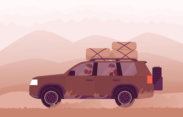 家族は車で自然に旅行しますライフスタイルの概念野外活動カラー漫画フラットベクトル