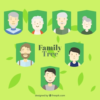 Family tree background with friendly family members
